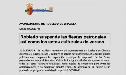 Suspensión fiestas patronales y eventos culturales