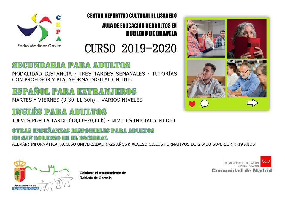 Cartel curso 2019 - 2020 Educación Adultos  Robledo de Chavela