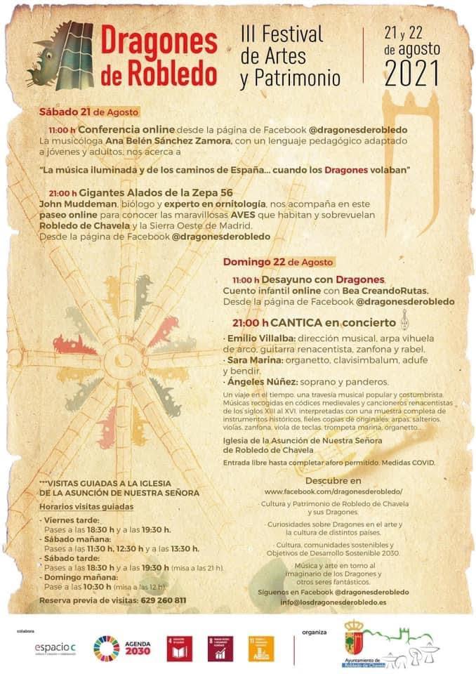 Cartel del Tercer Festival de Artes y Patrimonio en Robledo de Chavela 2021