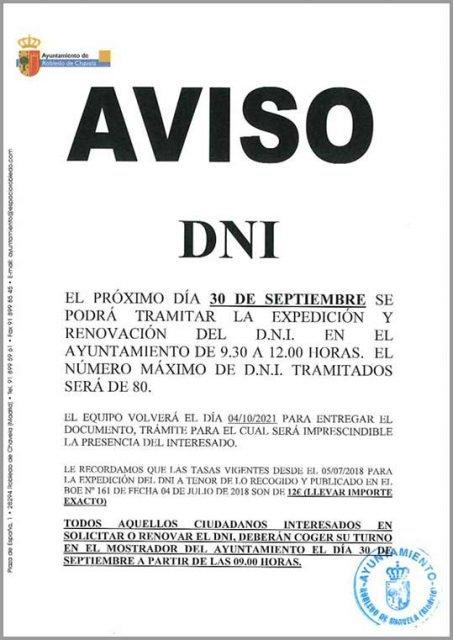 AVISO DNI El 30 de Septiembre se podrá tramitar el DNI en el Ayuntamiento de 9:30 a 12:00h